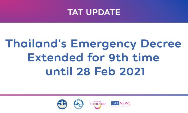 Thailand extends the emergency decree for the ninth time until 28 February 2021 to curb COVID-19